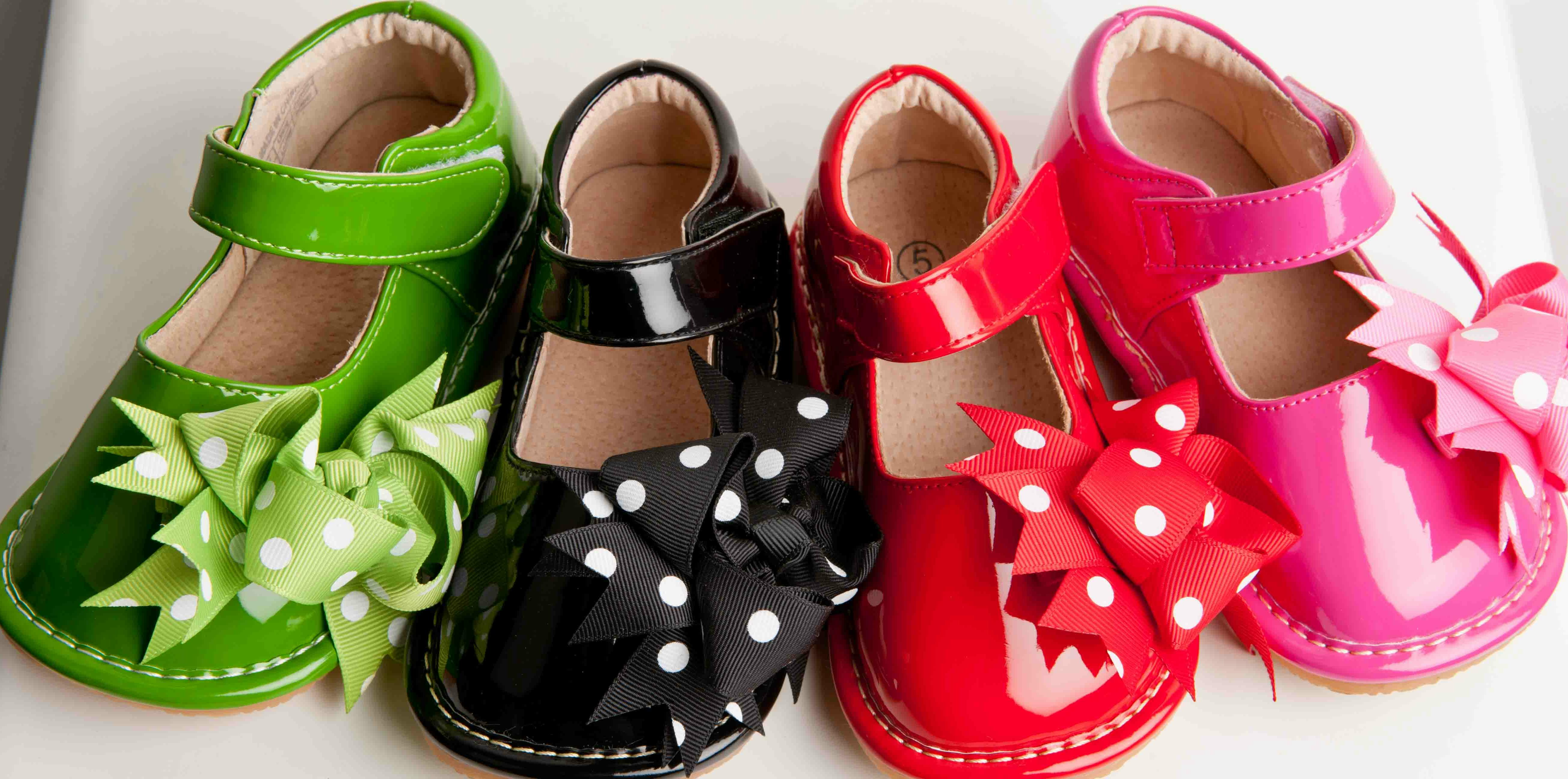 Girl Polka Dot Solid Patent Clip On Squeaky Shoes Hot Pink, Green ...