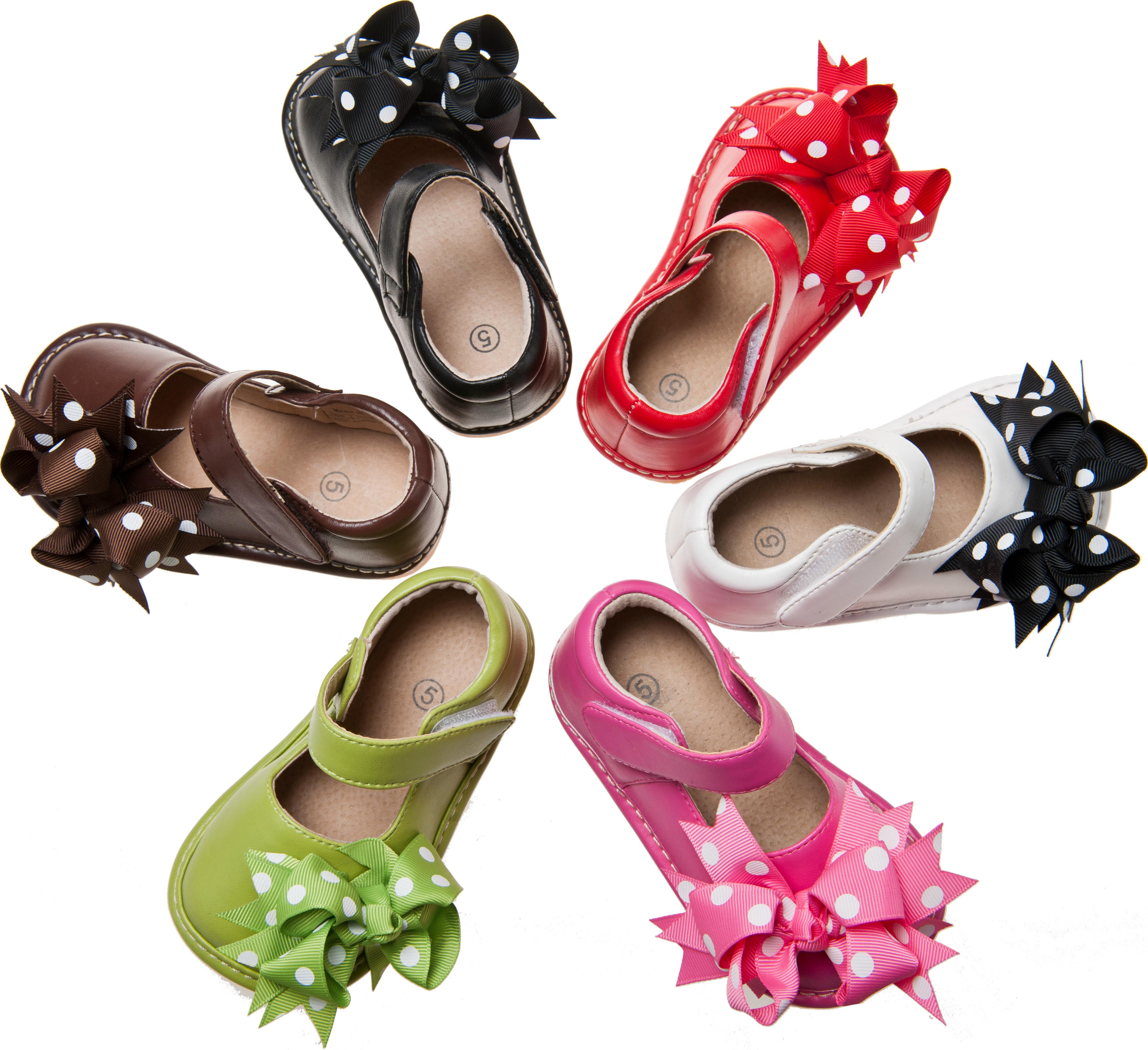 Girl-Leather-Mary-Jane-Clip-On-Squeaky-Shoes-White-Brown-Green-1-7